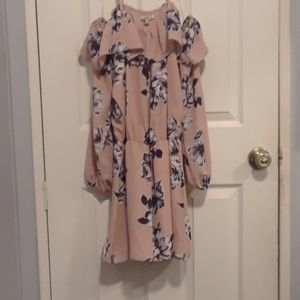 Pink floral off the shoulder long sleeve romper